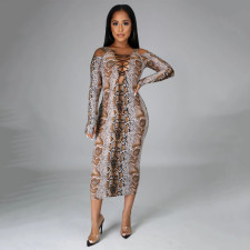 Sexy Elegant Snake Print Long Sleeve Bandage Slim Party Club Dress NLF-8031