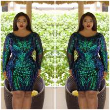 Plus Size 5XL Shiny Sequined Long Sleeve Party Dress CYA-1367