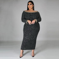 Plus Size 5XL Sexy Slash Neck Full Sleeve Maxi Dress CYA-1344
