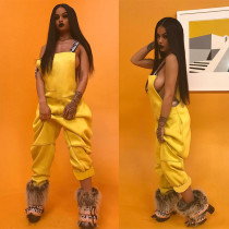 Fashion Casual Solid Color Suspenders Jumpsuit WXF-5526