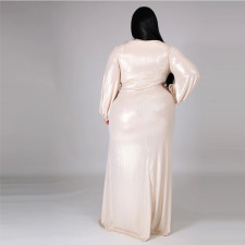 Plus Size Sexy V Neck High Waist Split Maxi Dress CYA-1350