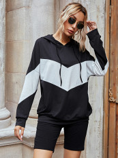 Casual Patchwork Loose Hoodies+Shorts 2 Piece Sets LSD-8899