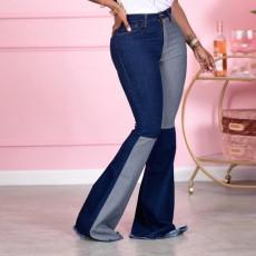 Denim Patchwork Flared Jeans Pants LSD-9051