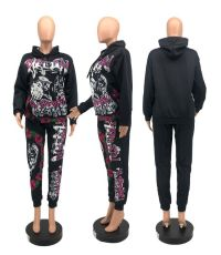 Fashion Casual Printed Sports Hooded Sweatshirt Two Piece Set OXF-8010