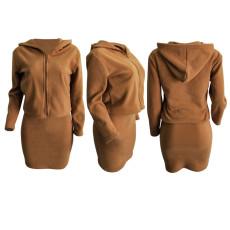 Solid Plush Hooded Long Sleeve Mini Skirt 2 Piece Sets LSD-8241