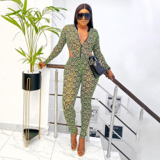 Sexy Printed Bodysuit And Pants Two Piece Sets YF-9782