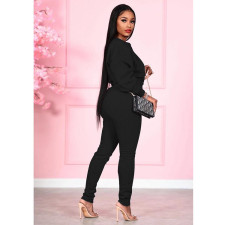 Solid Color Lace-Up Long Sleeve Top And Pants Two Piece Set SMF-8058