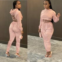 Plus Size Solid Color Fashion Sexy Lace-Up Hoodie And Pants Two Piece Set WXF-5533