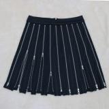 Trendy Sexy Zipper Pleated Mini Skirt CYA-8818