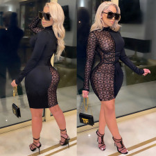Sexy Mesh Patchwork Long Sleeve Bodycon Dress CHY-1300