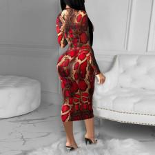 Snake Skin Print Full Sleeve Slim Long Dress FENF-058