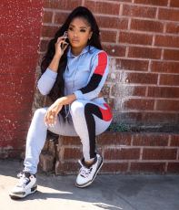 Casual Sportswear Patchwork Hoodies Two Piece Sets LSD-9059