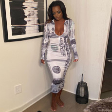 Sexy Printed Long Sleeve Zipper Bodycon Long Dress FENF-052