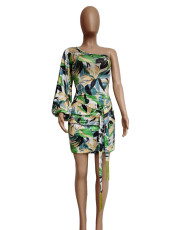 Green Leaf Print Single Sleeve Dress APLF-0971
