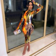 Sexy Printed Long Sleeve Slim Midi Dress FENF-061