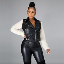 PU Leather Plush Patchwork Zipper Coat FENF-048