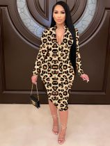 Sexy Ruched Long Sleeve Leopard Midi Dress HMS-5405