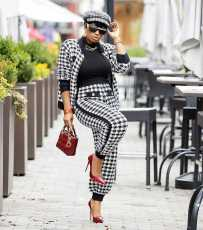 Houndstooth Print Jacket And Pants 2 Piece Suits HMS-5401