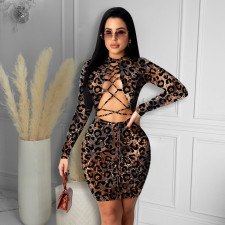 Sexy Leopard Lace Up Hollow Bandage Dress HMS-5406