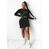 Plus Size 4XL Printed Long Sleeve Mini Dress SHE-7232