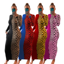 Leopard Patchwork Long Sleeve Slim Maxi Dress AIL-142