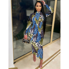 Plus Size Sexy Printed Zipper Long Sleeve Jumpsuits YIY-5246
