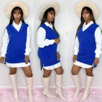 Plus Size Patchwork Full Sleeve Turndown Collar Mini Dress YIY-5244