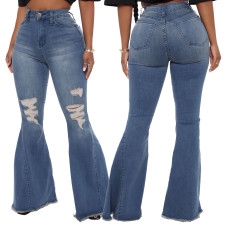 Plus Size Ripped Hole Denim Flared Jeans HSF-2366
