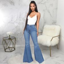Plus Size Denim High Waist Skinny Flared Jeans HSF-2078