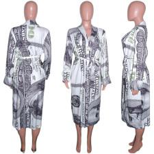 Casual Loose Printed V Neck Full Sleeve Sashes Long Coat SH-390022