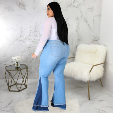 Plus Size 5XL Denim Ripped Hole Skinny Flared Jeans HSF-2368