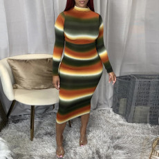 Sexy Striped Long Sleeve High Collar Slim Midi Dress SH-390017