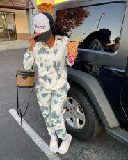 Casual Print Hooded Sweatshirt Suit YMF-3518