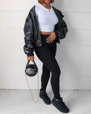 Black PU Leather Full Sleeve Zipper Coat YFF-9713