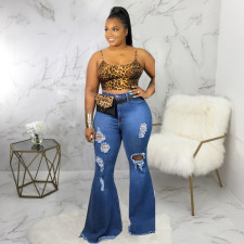 Plus Size Denim Ripped Hole Flared Jeans HSF-2367