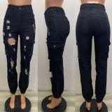 Dark Ripped Hole High Waist Jeans YSF-450