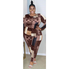 Plus Size 5XL Geometric Print Fashion Long Sleeve Pants Two Piece Set ASL-7003