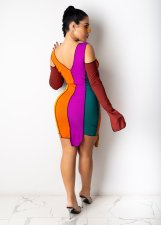 Sexy Fashion Contrast Color Split Long Sleeve Bandage Irregular Bodycon Dress YN-1065