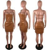 Sexy Sling Backless Zipper Nightclub PU Leather Dress LX-2005