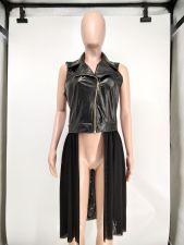 PU Leather Mesh Patchwork Zipper Vest Waistcoat NK-8589