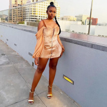 Sexy Off Shoulder Velvet Patchwork Mini Dress MDF-5193