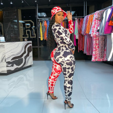 Leopard Patchwork Sexy Long Sleeve Jumpsuit YD-8341