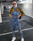 Leopard Patchwork Long Sleeve 2 Piece Pants Set YD-8340