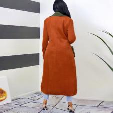 Trendy Patchwork Lapel Full Sleeve Long Coat SH-390046
