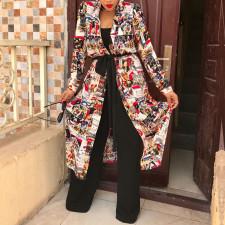 Trendy Printed Full Sleeve Sashes Long Coat TE-4157