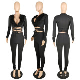 Sexy V Neck Feather Patchwork 2 Piece Pants Set YIS-746