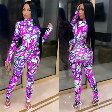 Graffiti Printed Long Sleeve Slim Fit Jumpsuit GS-1900