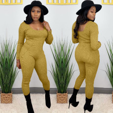 Solid Ribbed Long Sleeve Slim Jumpsuits AL-230