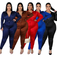 Plus Size 5XL Sexy V Neck Bodysuit+Pants Two Piece Sets BMF-052