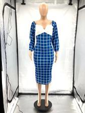 Fashion Sweet Plaid Print Midi Dress SZF-6074